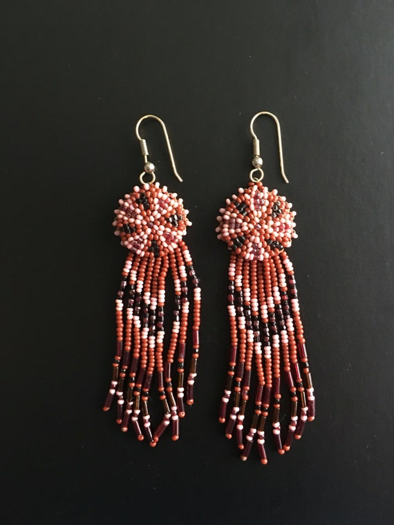 Native American Beaded Dream Catcher Dangle Earrings Red Black Etsy Adorable Native American Beaded Dream Catchers