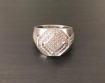 Diamond & Sterling Silver Men's Ring