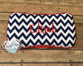 Personalized Baby Wipe Case, Custom Wipe Case, Travel Baby Wipe Case, Navy Blue Chevron with Red Trim Wipe Case, Diaper Wipe Case, Baby Gift