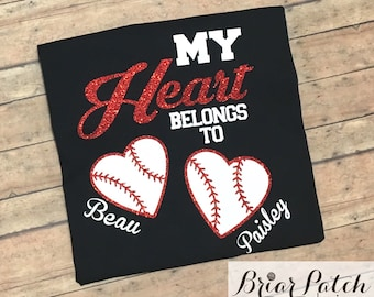 Personalized My Heart Belongs To Baseball Shirt, Personalized Glitter Baseball Mom Shirt, Personalized Grandma Baseball Shirt