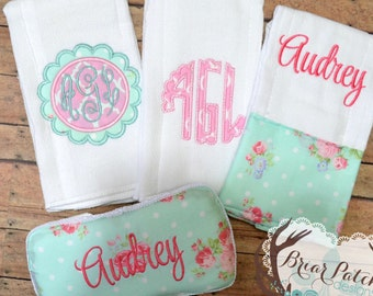 Personalized Baby Wipe Case and Burp Cloths