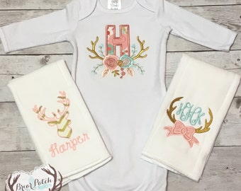 Personalized Baby Girl Gown and Burp Cloth Gift Set, Monogrammed Floral Deer Antler Set, Baby Going Home Outfit, Embroidered Baby Gift Set