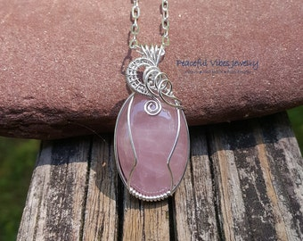Wire Wrapped Rose Quartz Necklace Sterling Silver Wire Wrap Pendant Handmade One Of A Kind Artisan Jewelry