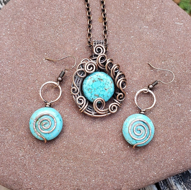 Wire Wrapped Turquoise Howlite Necklace Jewelry Set Oxidized Copper Wire Wrap Earrings Boho Hippie Artisan Spiritual Jewelry