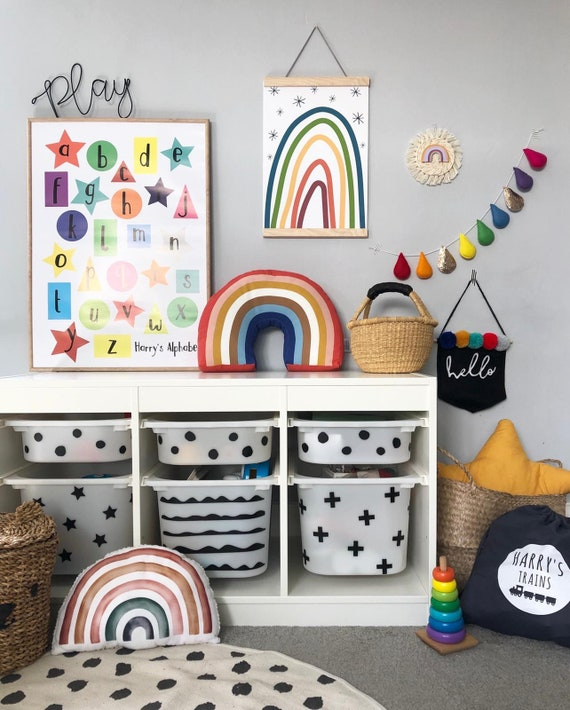 Ikea Trofast Hack Decal Stickers Playroom Furniture Kids Decals Kids Furniture Kids Room Ideas Furniture Upcycling Toy Storage Ideas
