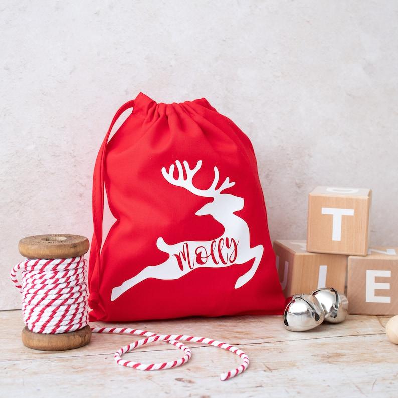 Personalised Christmas Reindeer Bag, Home Decor, Teacher Gift, Family Gift  Ideas, Santa's Sack, Gift Bag, First Christmas Gifts, Stocking