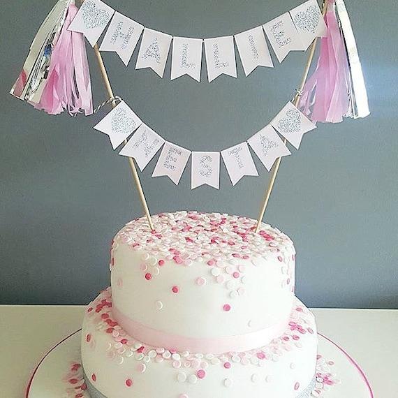 Stupendous Pink Silver Cake Topper First Birthday Hen Party Etsy Funny Birthday Cards Online Amentibdeldamsfinfo