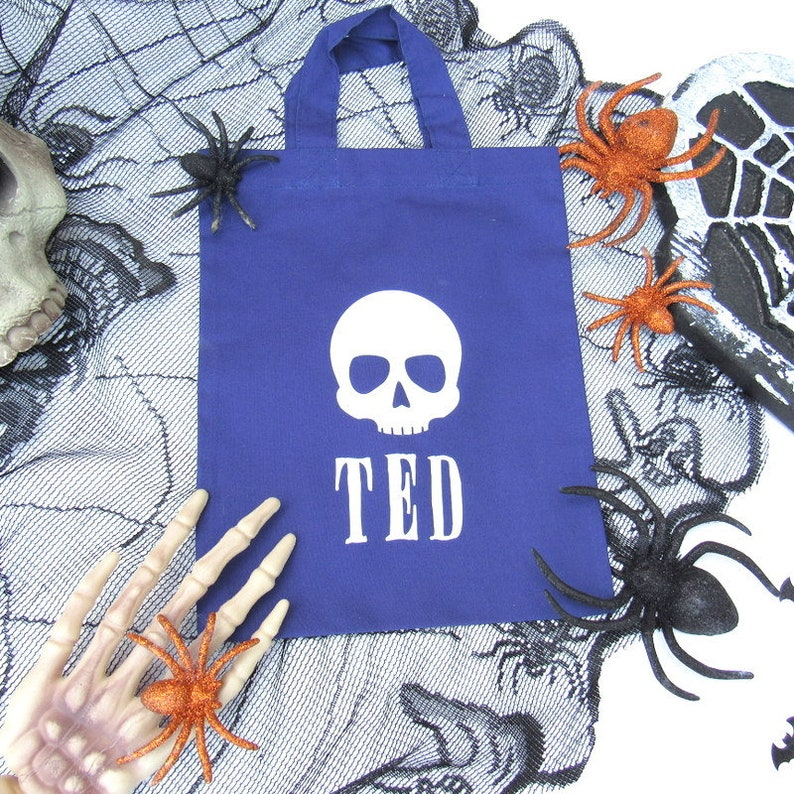 Party Bag Candy Bag Spooky Skull Personalised Halloween Bag Trick or Treat Personalised Treat Bag Halloween Gift Ideas for Kids
