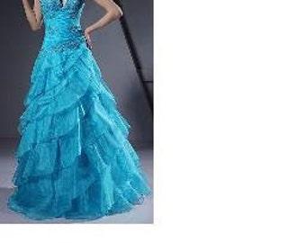 Ball Gown V Neck Halter Floor Length Organza Satin