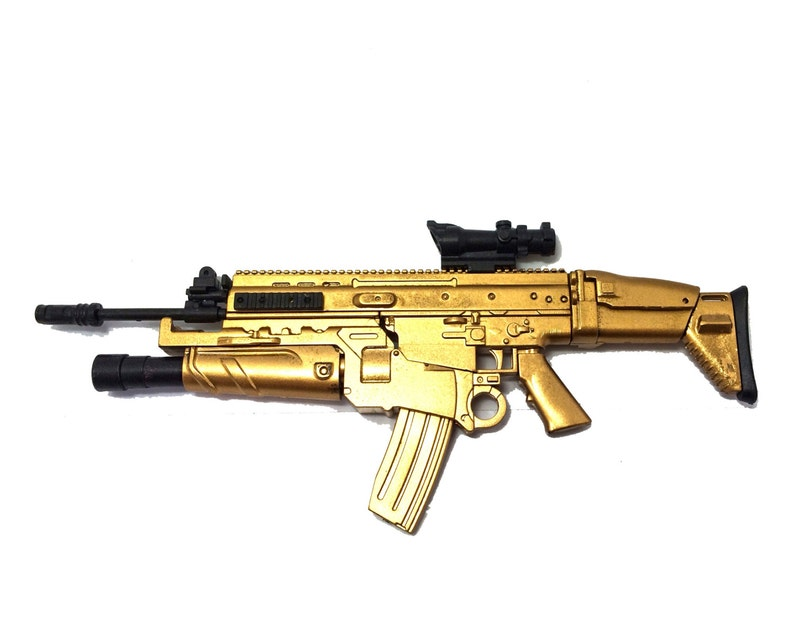 1/6 Scale Custom Made Gold FN Scar Assault Rifle US Army FN Herstal Gun  Action Figure