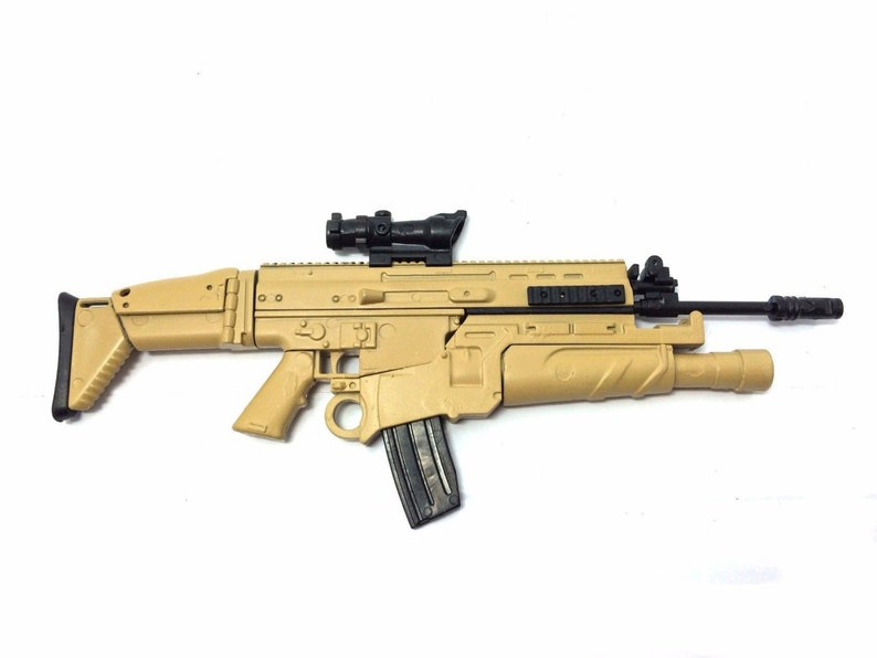 1/6 Scale Custom Made Desert FN Scar Assault Rifle US Army FN Herstal Gun  Light Sand Color Action Figure