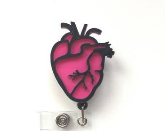Cardiac Nurse-Decorative Badges-Heart-Retractable Id-Nurse Badges-Anatomical Heart-3D Heart-Cardiologist-Cardiac-Nurse Badge Reel-Nurse Id