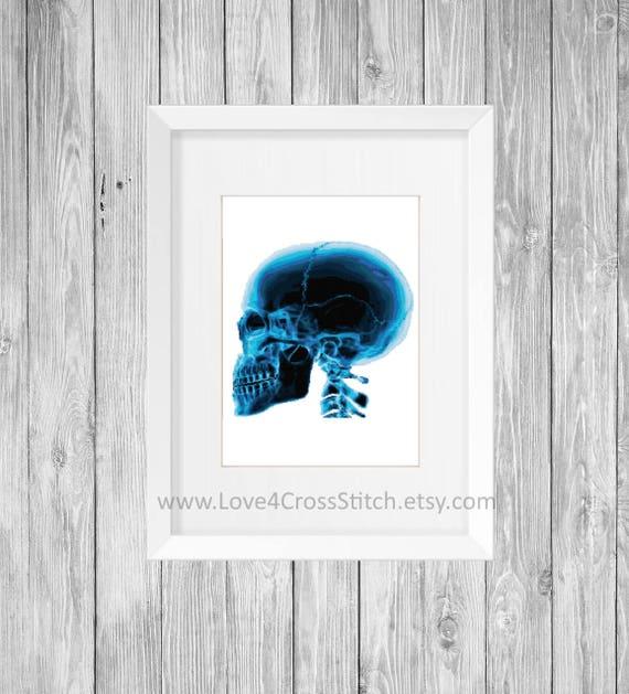 Skull X-ray Cross Stitch Pattern Modern Skull Cross Stitch   Etsy