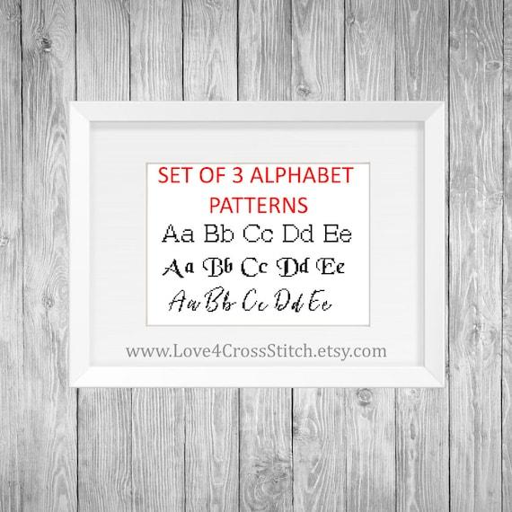 Set Of Cross Stitch Alphabet Patterns Cursive Alphabet Basic Etsy