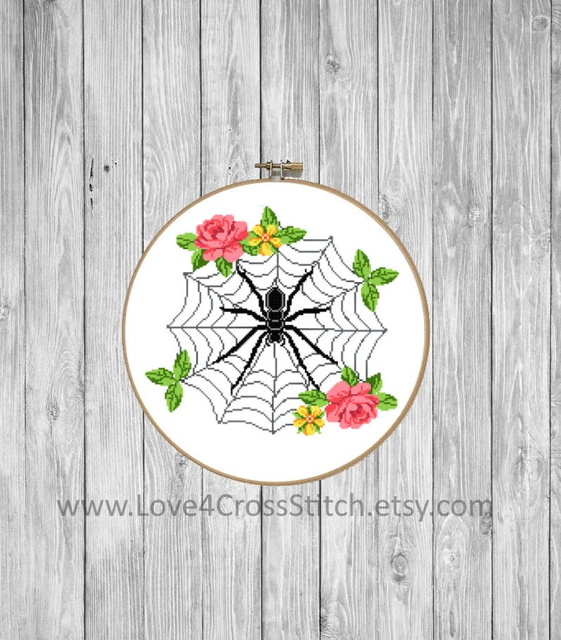 Gothic Cross Stitch, Modern Halloween Cross Stitch Pattern, Spider Cross  Stitch, Spider Web Cross Stitch Pattern Modern, Roses Cross Stitch