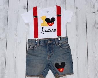 2bf2da84a 3 Piece Mickey Mouse short set, Boys Disney outfit, Toddler First Birthday  top, Mickey Mouse pants, Baby Boy Disney, Mickey Smash Cake