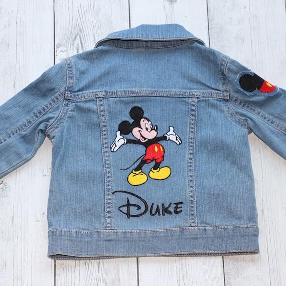 4a29c058ec Boys Embroidered Disney jacket, Mickey Mouse outfit, Disney denim outfit,  Kids Disney denim, Boys Mickey mouse top, Mickey Mouse jacket