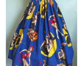 Gathered Halloween Pinup skirt