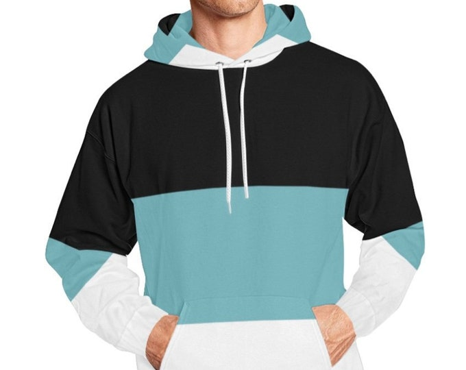 Blue Black White Color Block Hoodie