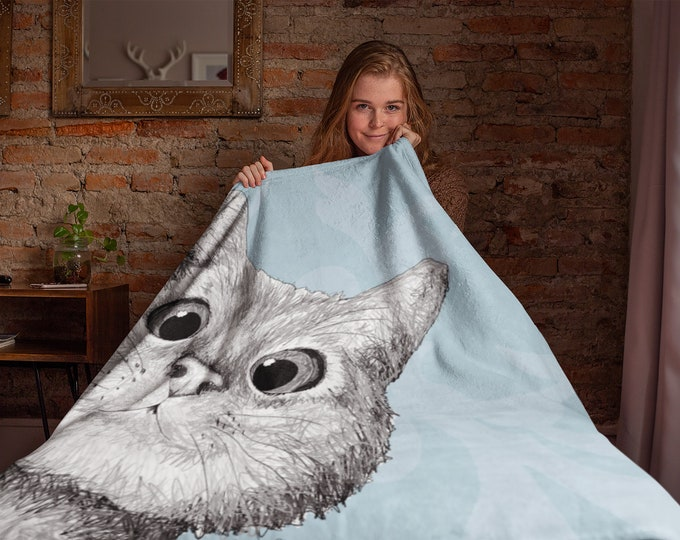Peekaboo Kitty Plush Fleece Blanket