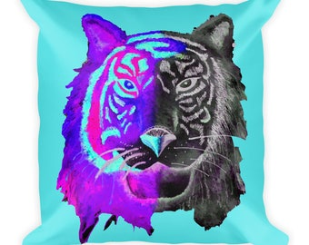Purple tiger Square Pillow