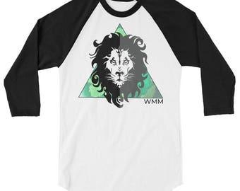 Lion fraction 3/4 sleeve raglan shirt
