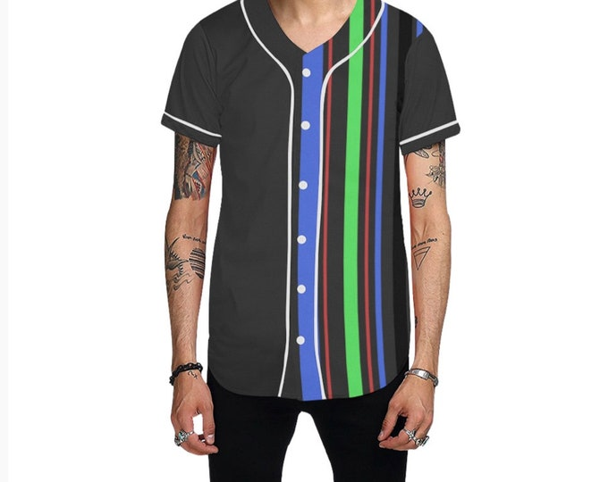 Color Striped Baseball Button Down