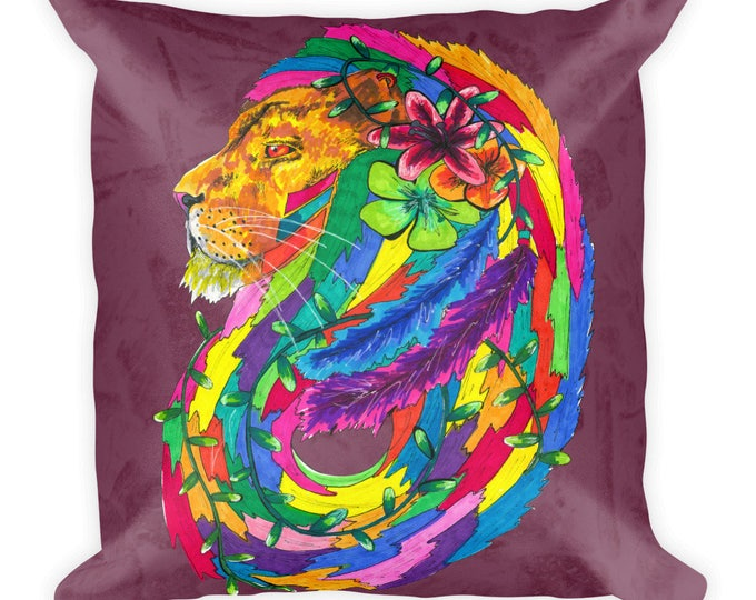 Lion Karma Square Pillow