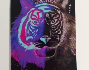 Color Tiger Purple Sticker