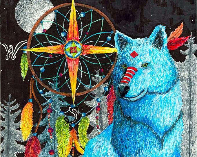 Blue Wolf Print