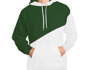 Green White Color Block Hoodie