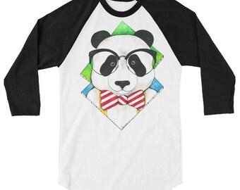 3/4 sleeve Hipster Panda