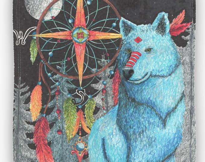 Blue Wolf Plush Fleece Blanket