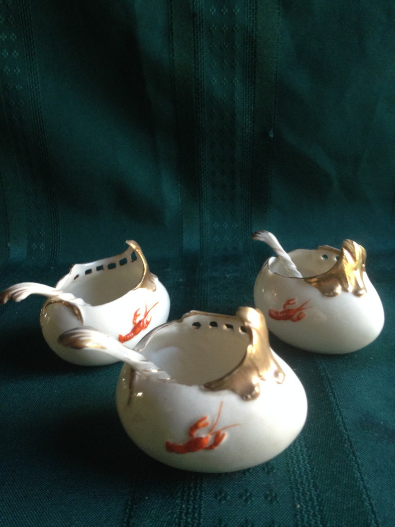 Vintage Chinese Salt Cups and Spoons