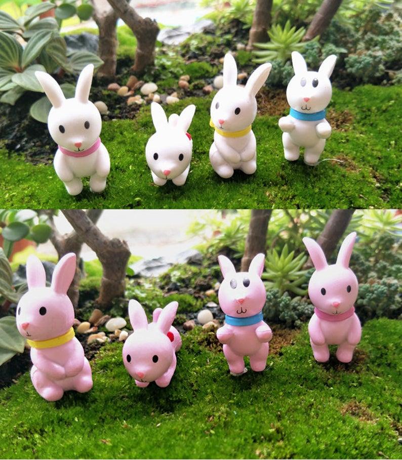 8pcs Cute Rabbit Fairy Garden Miniatures For Terrariums Etsy