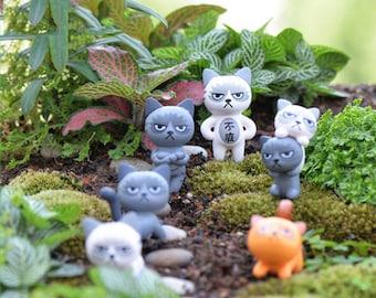 6pcs Cartoon Cat figures terrarium resin craft fairy garden miniatures dollhouse Jardin Moss Oranement Bonsai Succulent Decor