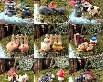 30pcs (10 set Different Animal) home decoration accessories Bonsai Tools Fairy Garden Miniatures Art Dollhouse Ornaments Terrarium Figurines