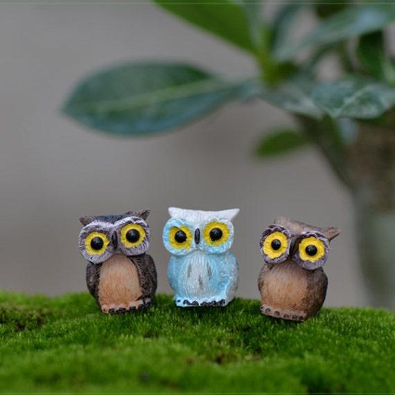 9pcs Cute Night Owl Terrarium Figurines Fairy Garden Etsy