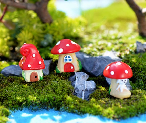 Mushroom house Miniatures For Fairy Garden Gnomes Moss Terrariums Decor ÁÁ