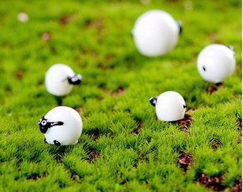 21pcs (large + middle + small ) mini sheep home decoration Bonsai Tools Fairy Garden Miniatures Art Dollhouse Ornaments Terrarium Figurines