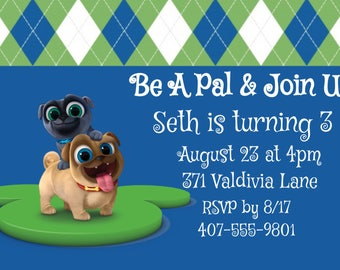 Puppy Dog Pals Invitations , Rolly, Bingo, Disney Junior