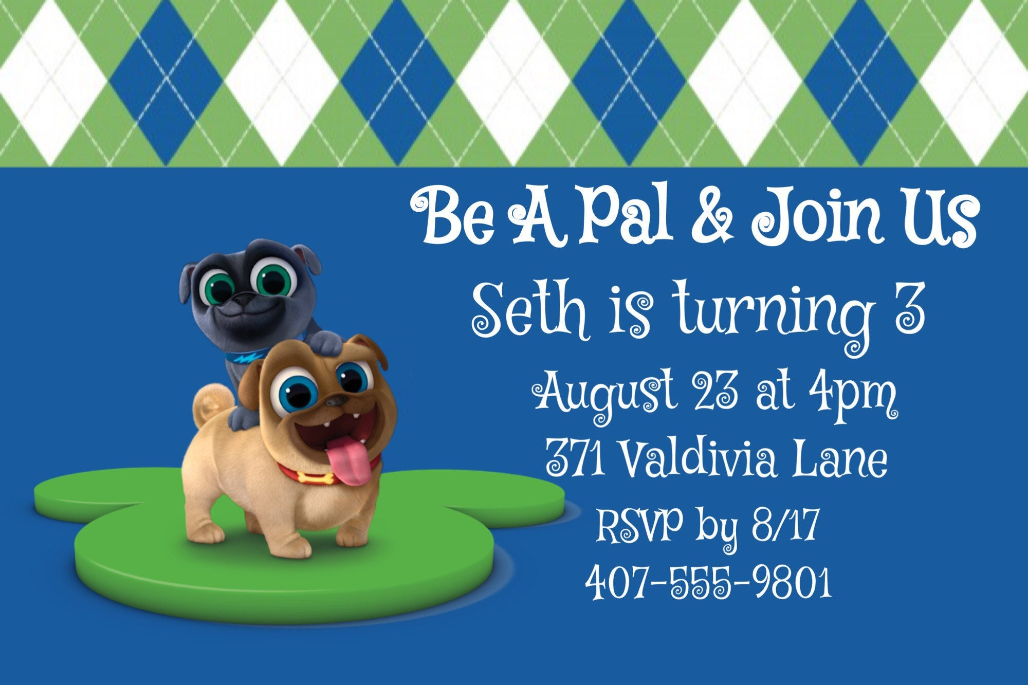 Puppy Dog Pals Invitations Rolly Bingo Disney Junior Etsy
