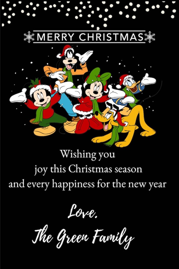 Mickey and Friends Christmas Cards Mickey Mouse Minnie   Etsy