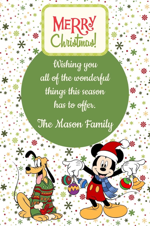 Mickey and Friends Christmas Cards Mickey Mouse Minnie | Etsy