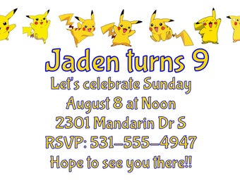 Pokémon Invitations, Pikachu, Pokémon Party, Pokémon Go, pokeballs, Pokémon Birthday, Pikachu Invitations