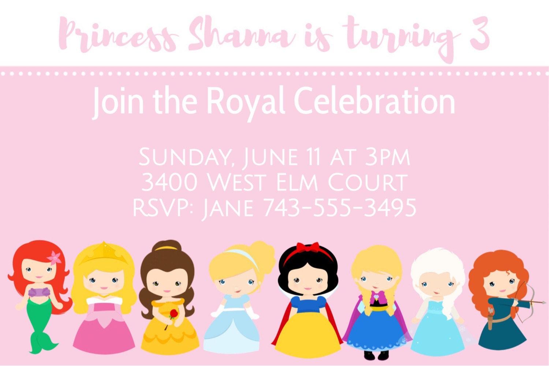 Cute Disney Princess Invitations Cute Princess Princess | Etsy
