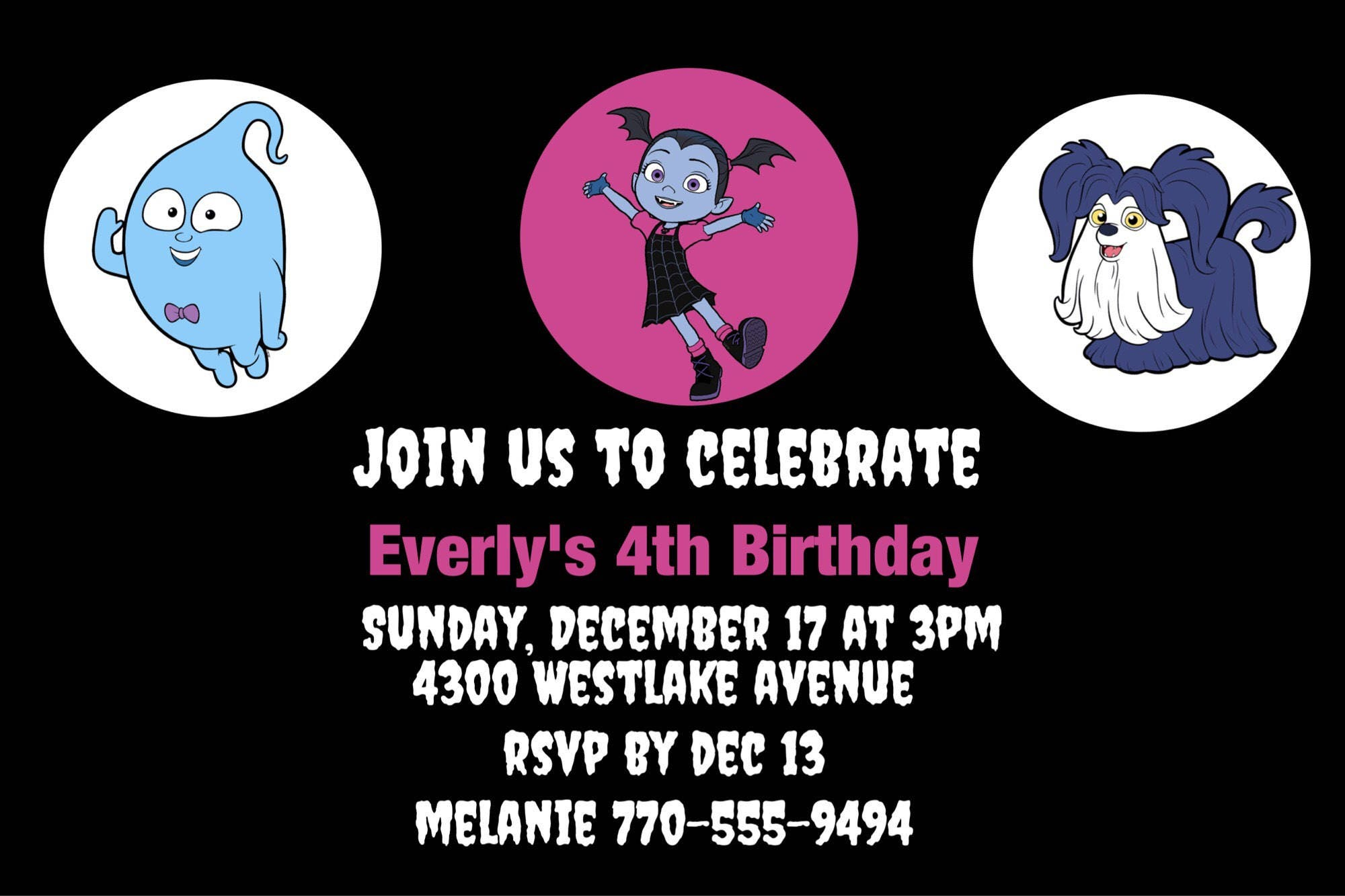 Vampirina Invitations Disney Junior Vampirina Etsy