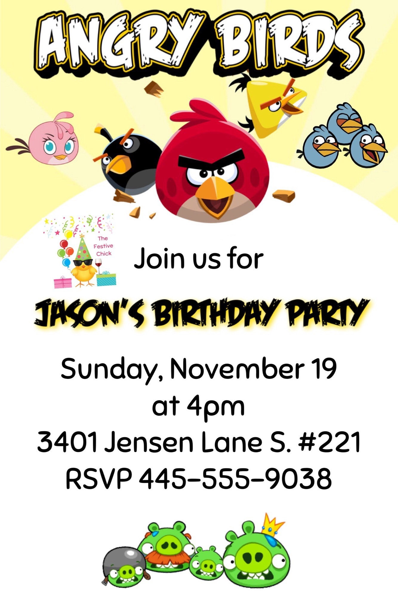 Angry Birds Invitations Angry Birds Angry Birds Party | Etsy