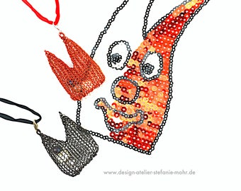 wire crochet red- or black-colored KÖLLNER DOM pendant with moving fresh water pearls