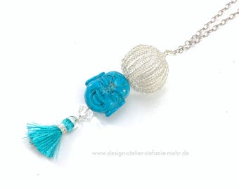 Sterling silver BUBBLE double wire crochet pendant with turquoise buddha and tassel